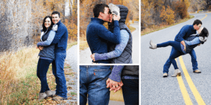 Collage of Gretchen and Colin fall engagement