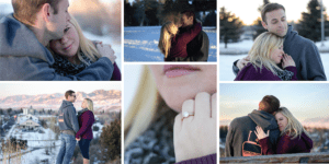Collage of winter engagement in Bozeman