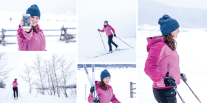 Collage of branding shoot skiing