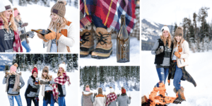 Collage of girls in winter bundled up drinking wine