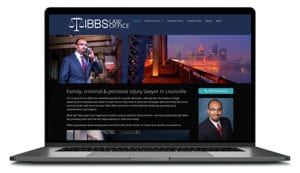 Tibbs Law Attorney website shown in computer